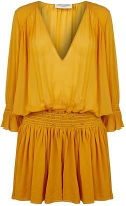 Saint Laurent Georgette Silk Dropped Waist Dress