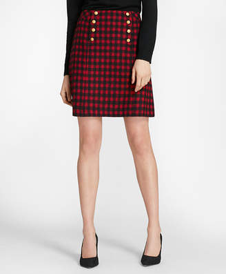 Brooks Brothers Checked Wool-Blend Skirt