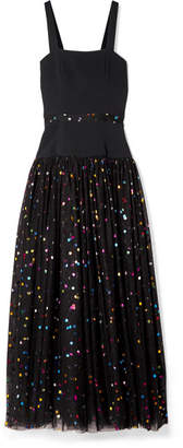 STAUD - Scarla Cady And Metallic Polka-dot Tulle Gown - Black