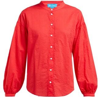 MiH Jeans Colt Band Collar Cotton Seersucker Shirt - Womens - Red