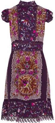 Anna Sui Lace-Trimmed Printed Silk Crepe De Chine Dress