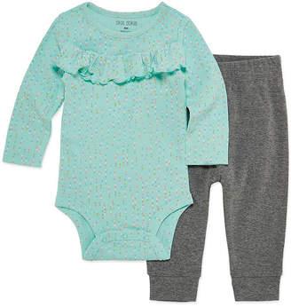 Okie Dokie Rainbow Ruffle Long Sleeve Bodysuit and Pant Set - Baby Girl NB-24M