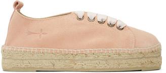 Manebí Pink Suede Hamptons Lace-Up Espadrilles $140 thestylecure.com