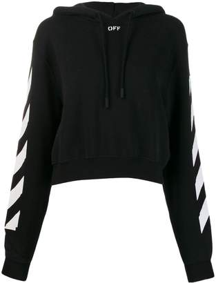 Off-White striped sleeve cropped hooded jumper