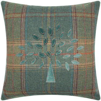 Mulberry Home Tree Plaid Cushion - 50x50cm - Teal