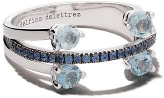 Delfina Delettrez 18kt white gold, sapphire and aquamarine Linked Dots ring