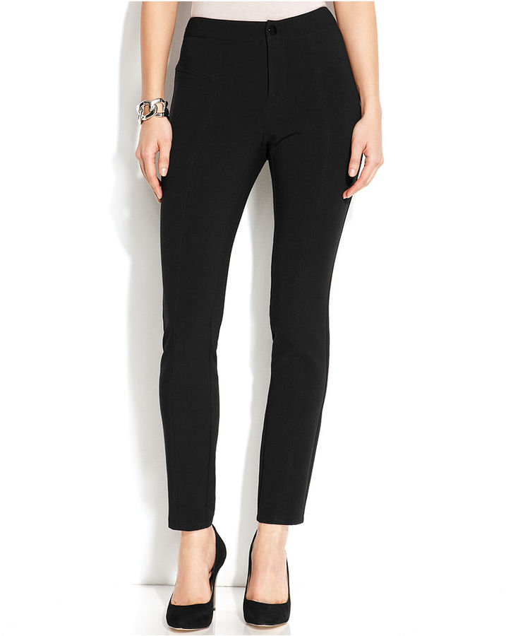 INC International Concepts Curvy-Fit Skinny-Leg Seamed Pants