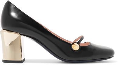 Fendi - Rainbow Leather Mary Jane Pumps - Black