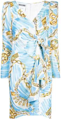 Moschino chain-print wrap dress