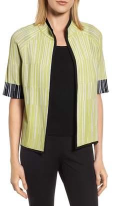 Ming Wang Short Sleeve Jacquard Jacket