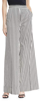 Self-Portrait Monochrome Wide-Leg Cotton Trousers
