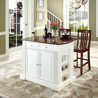 "Crosley Furniture Drop Leaf Breakfast Bar Top Kitchen Island Finish with 24"" School House Stools"