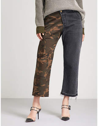 Monse Patchwork camouflage-print straight high-rise jeans