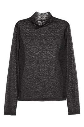 H&M Mesh Turtleneck Top - Black/leopard print - Women