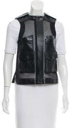 Laveer Leather-Trimmed Mesh Vest