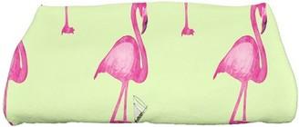 Simply Daisy, 28 x 58 inch, Flamingo Fanfare Martini Animal Print Bath Towel, Light Green