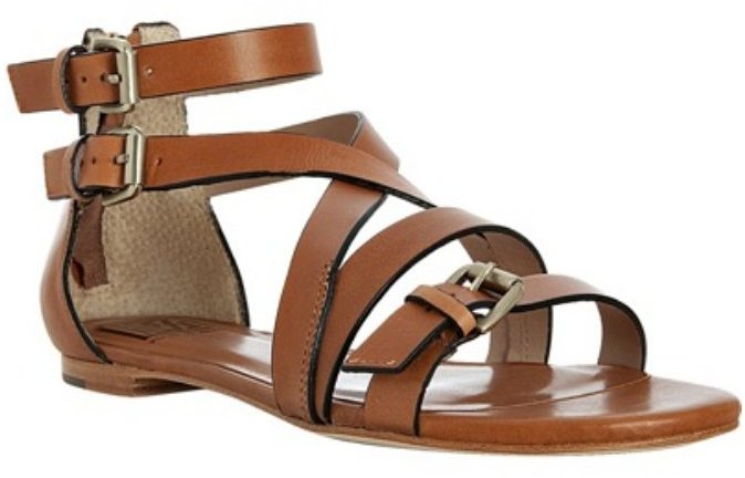 Pour la Victoire luggage leather 'Bryn' buckle detail flat sandals