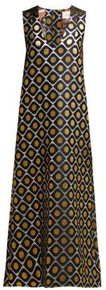 La DoubleJ Pomodorini Oro Brocade Midi Dress - Womens - Black Gold