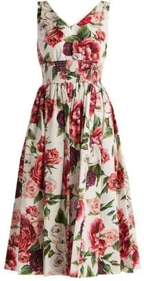 Dolce & Gabbana Rose And Peony Print Cotton Poplin Dress - Womens - White Multi