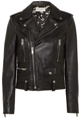 Saint Laurent Leather Biker Jacket - Black