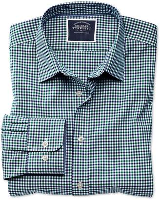 Charles Tyrwhitt Slim Fit Non-Iron Green and Blue Gingham Oxford Cotton Casual Shirt Single Cuff Size XL