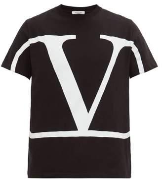 Valentino V Logo Print Cotton Jersey T Shirt - Mens - Black