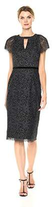 London Times Women's Short Sleeve Round Neck Midi Lace Sheath Dress w. Keyhole