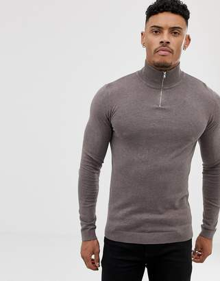 Asos DESIGN turtleneck sweater with zip in khaki