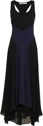 Roberto Cavalli Fluted Two-tone Georgette And Stretch-crepe Gown
