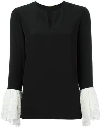 Saint Laurent contrasting bell sleeve blouse