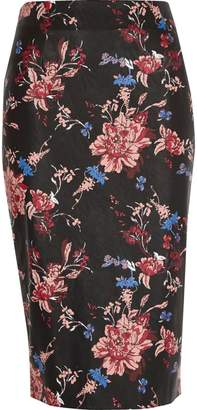 River Island Womens Black faux leather floral print pencil skirt