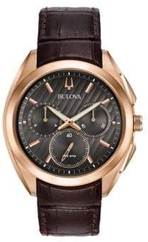 Bulova Curv Stainless Steel Chronograph Leather Strap Watch