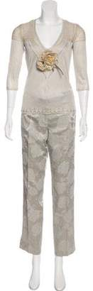 Dolce & Gabbana Metallic Brocade Pant Set