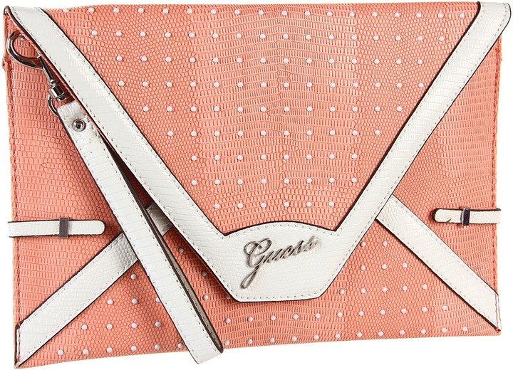 GUESS Rumi Envelope Clutch (Coral Multi) - Bags and Luggage