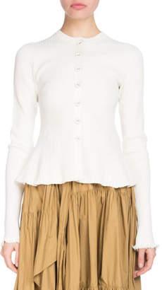 Proenza Schouler Button-Front Long-Sleeve Ribbed Peplum Cardigan