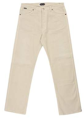 Tom Ford Mens Cream Corduroy Cotton Loose Fit Jeans