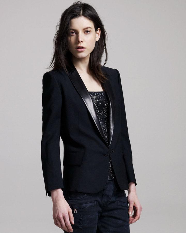 Balmain Leather-Lapel Pin-Closure Jacket