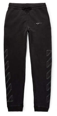 Off-White Tapered Logo-Print Loopback Cotton-Jersey Sweatpants