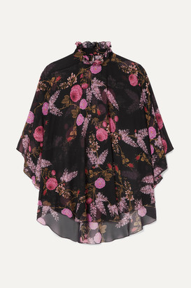 Giambattista Valli Ruffled Floral-print Silk-georgette Blouse - Black
