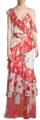 Alice + Olivia Olympia Asymmetric Silk Ruffle Maxi Dress
