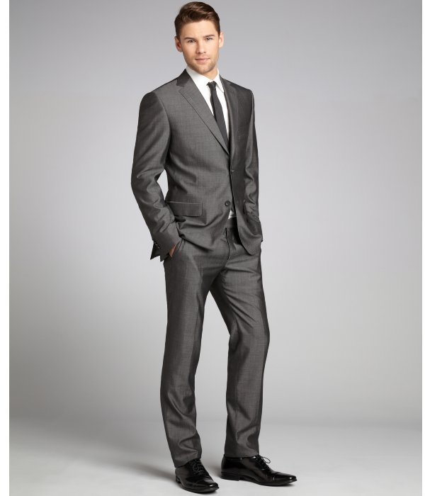 Z Zegna grey wool-silk 2-button suit with flat front pants
