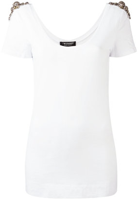 Twin-Set embellished T-shirt $129.19 thestylecure.com