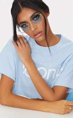 PrettyLittleThing Blue Hexagon Retro Sunglasses