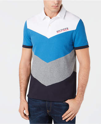 Tommy Hilfiger Men Lester Custom-Fit Colorblocked Chevron Polo