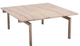 One Kings Lane Louve Square Coffee Table - White/Silver