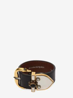 Alexander McQueen Medieval Leather Buckle Bracelet