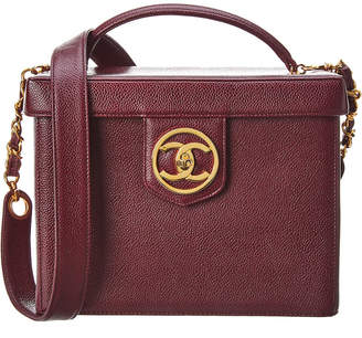Chanel Burgundy Caviar Leather Vanity Cosmetic Bag