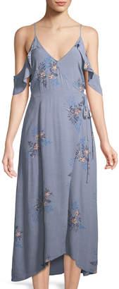 Astr Gwyn Cold-Shoulder Floral Wrap Dress