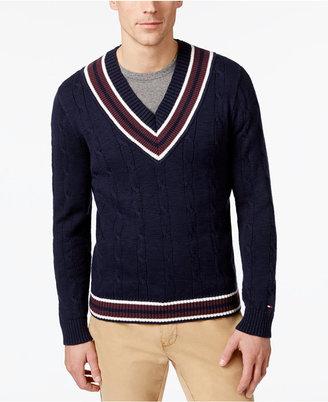 Tommy Hilfiger Men's V-Neck Cable-Knit Cotton Sweater $99 thestylecure.com