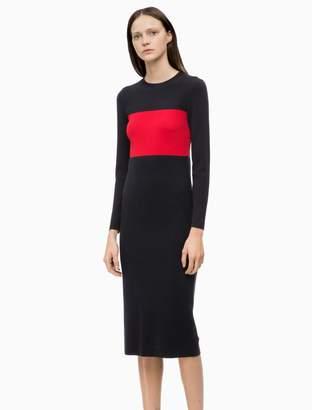 Calvin Klein wool knit colorblock dress